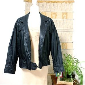 Vintage 80's Leather Jacket, Lined - S